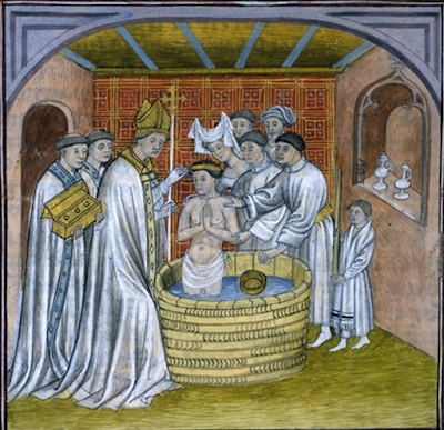 The Baptism of Rollo in a French Manuscript