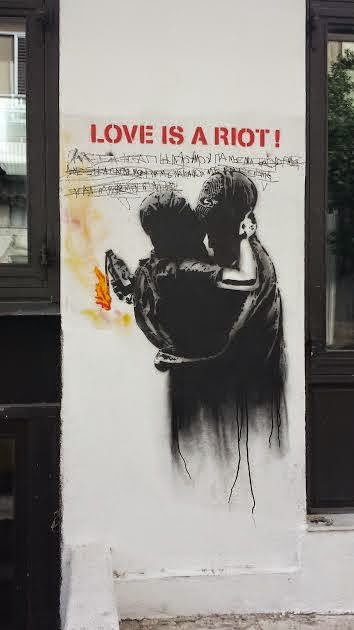 """Love is a riot""  Street Art Athens"