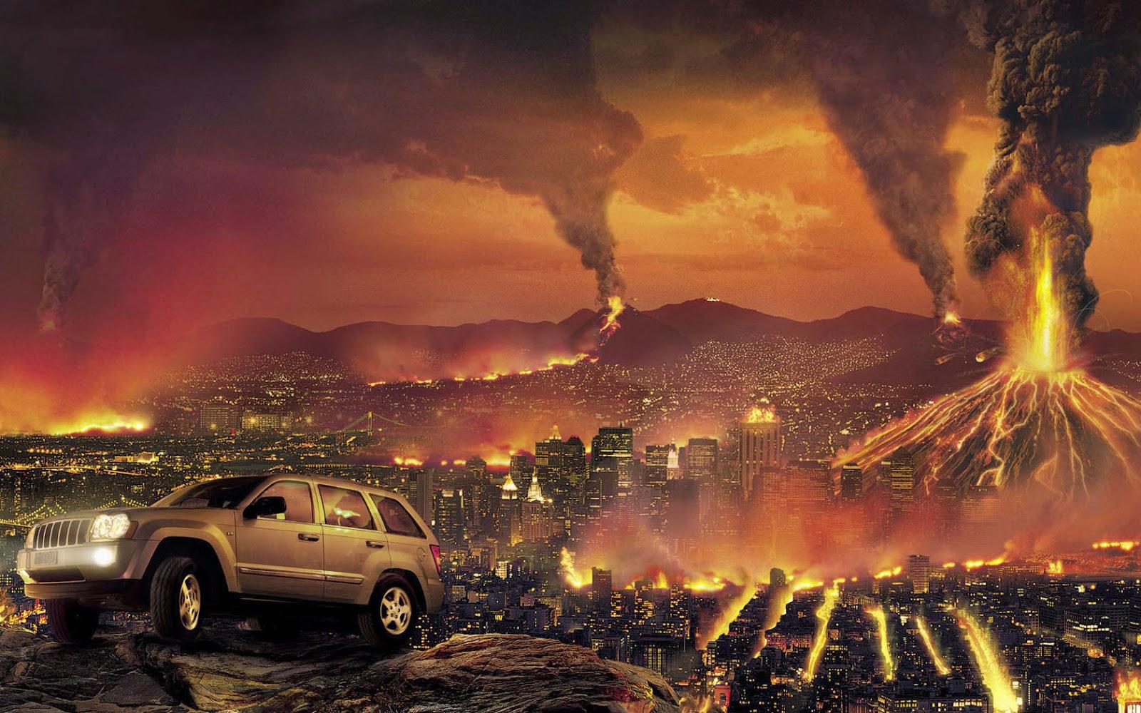 suv car landscape city destroyed wallpaper hd background free