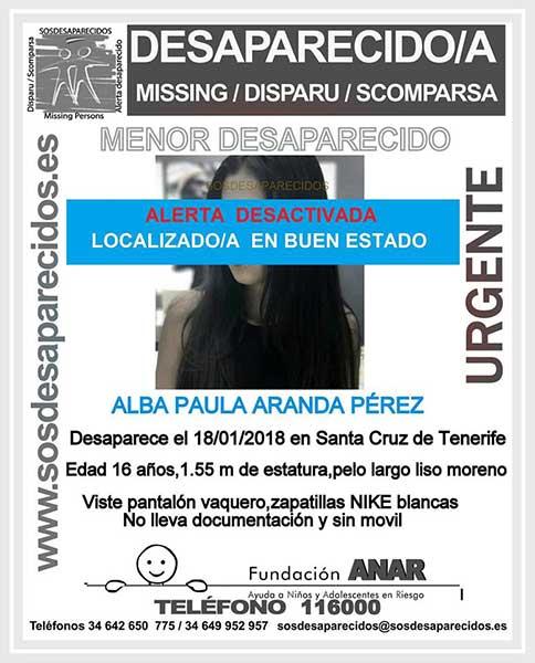 Localizada menor desaparecida Santa Cruz de Tenerife