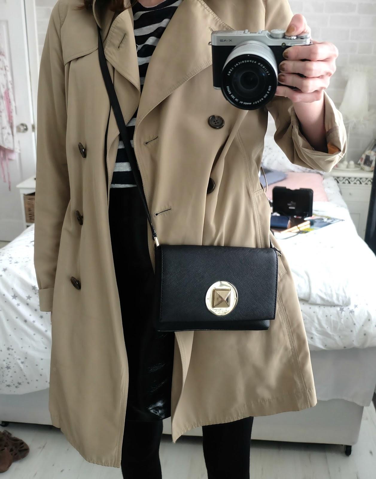 uniqlo trench coat, topshop stripe heart top, new look patent skirt, RAID alexus shoes, nine by savannah miller baker boy hat, kate spade sally bag