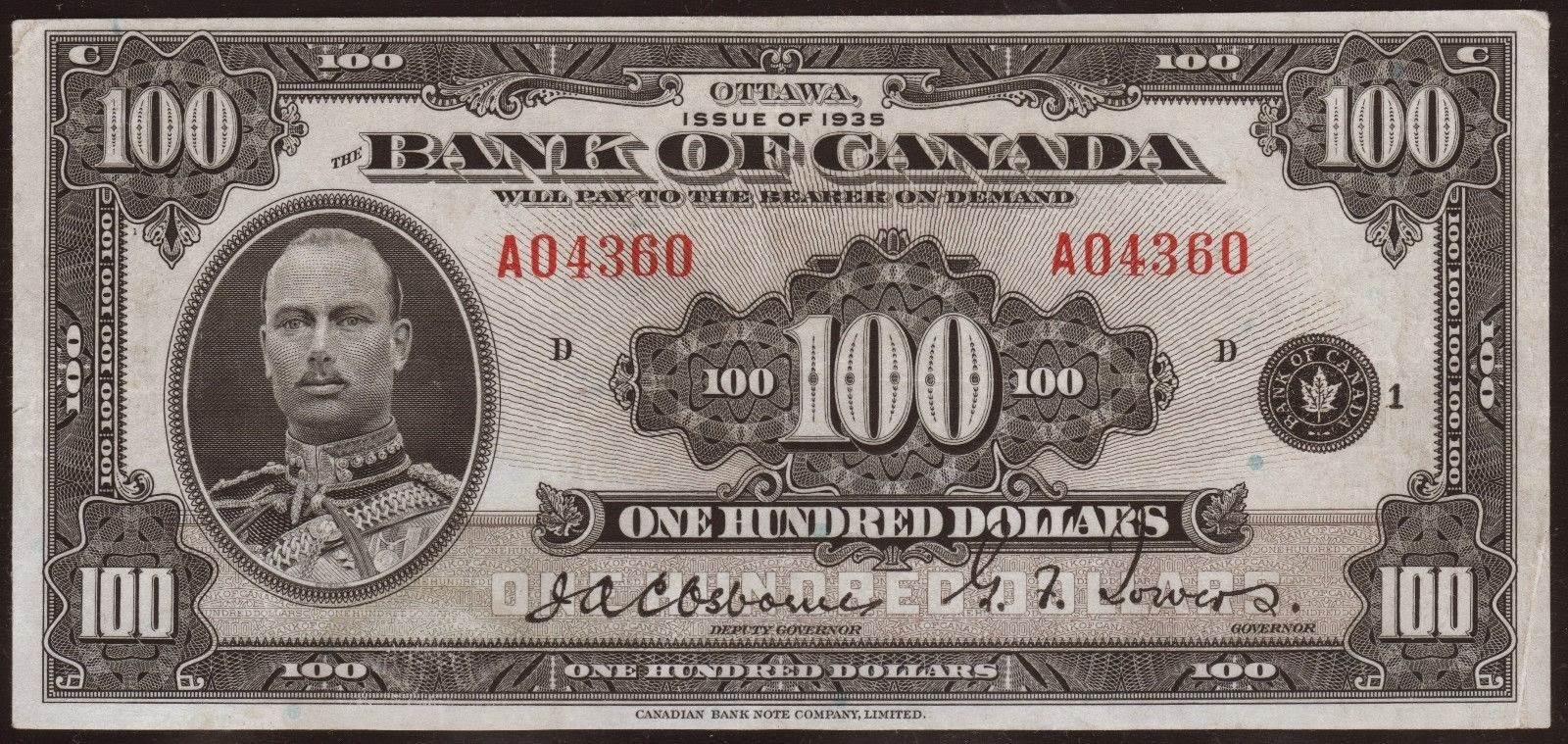 Canada banknotes 100 Dollar Note 1935 Prince Henry