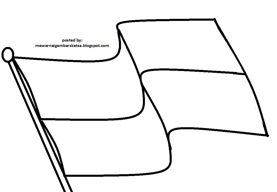 Mewarnai Gambar Mewarnai Gambar Sketsa Bendera Merah Putih 1