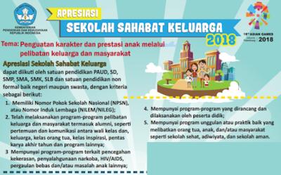 Lomba Apresiasi Sekolah Sahabat Keluarga  LOMBA APRESIASI SEKOLAH SAHABAT KELUARGA 2018 (PAUD, SD, SMP, SMA, SMK, SLB DAN NONFORMAL)