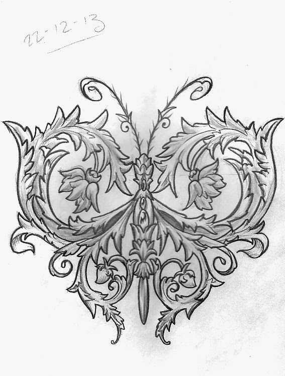 7f9e8614f5d2e Ornamental Butterfly design. I took reference from a book of Victorian  ornament to design this.