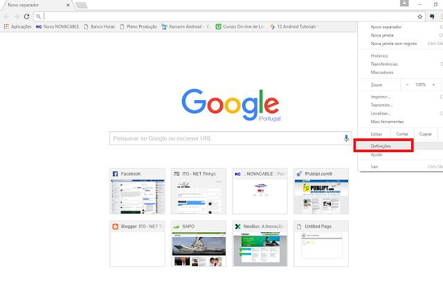 Chrome definições