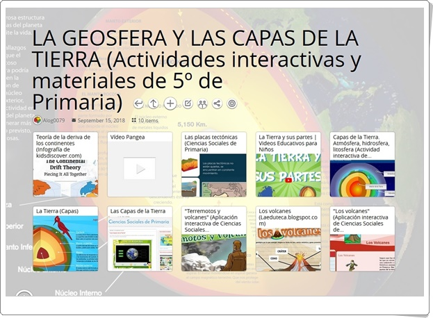 """""""10 Actividades interactivas y materiales sobre LA GEOSFERA Y LAS CAPAS DE LA TIERRA de 5º de Primaria"""""""
