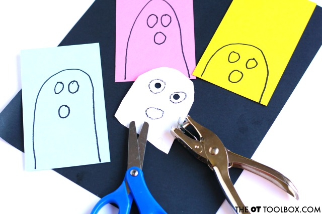 Kids can make this ghost craft to work on scissor skills and hand strength with a ghost theme this halloween, the fun ghost craft that helps kids cut with scissors.