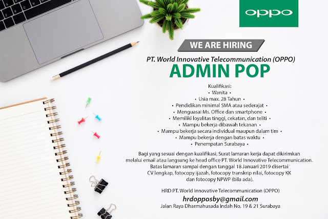 lowongan kerja admin pop oppo surabaya