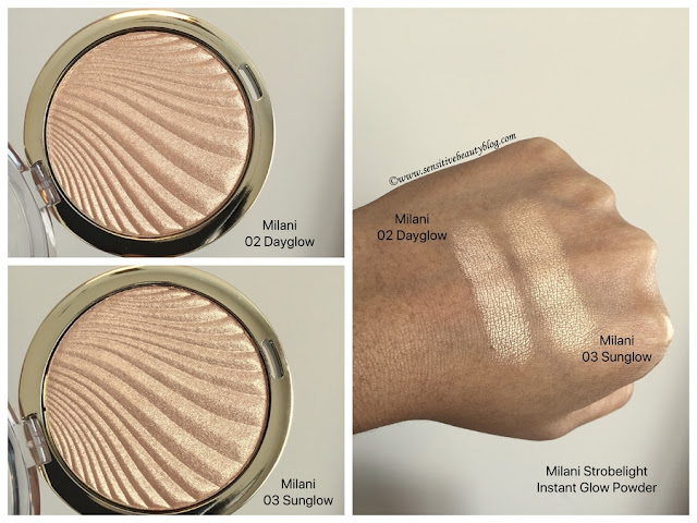 Milani Strobelight Instant Glow Powders, 02 dayglow 03 sunglow swatches on dark skin