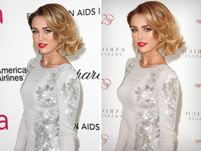 20 Before & After Images Of Celebs Reveal Society's Unrealistic Standards Of Beauty - Miley Cyrus