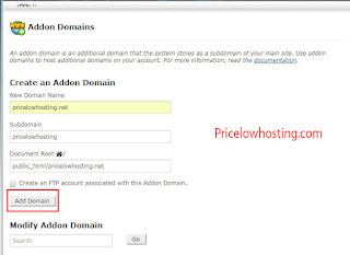 Add an Addon Domain from cPanel
