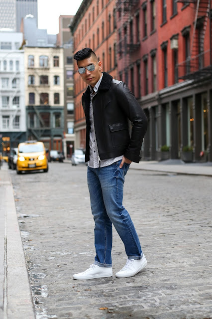 Slate Denim with All Saints Coat, Common Projects, Menswear Outfit