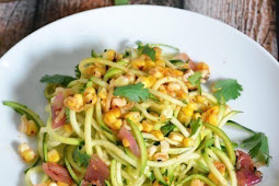 Healthy zucchini & roasted corn salad with chili lime vinaigrette Recipe