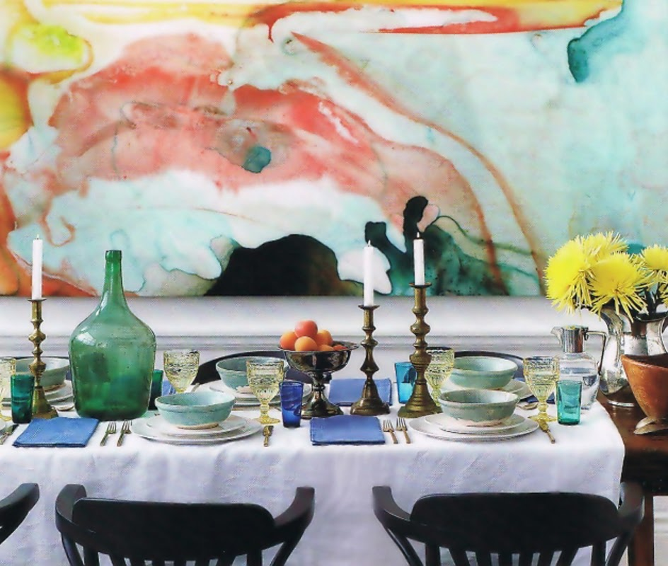 Watercolor Decor Abstract Art Mural Wall Dining Room Table Candlesticks and Flowers Centerpiece