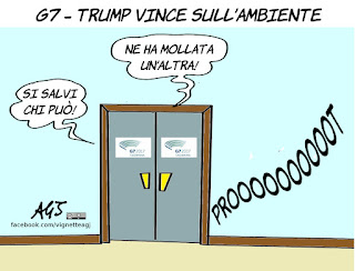 g7, taormina, ambiente, emissioni inquinanti, trump, vignetta, satira