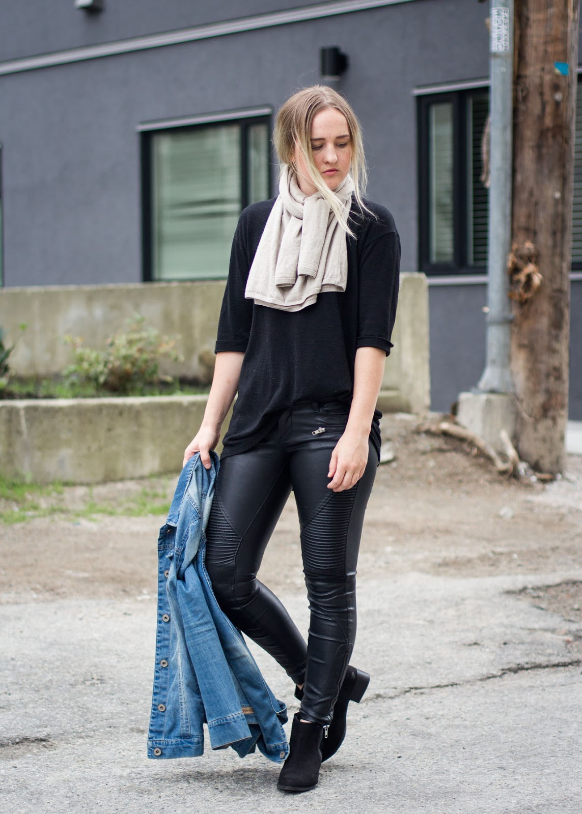 Fall Style - Canadian Fashion Blog - Blank NYC leather pants - Only denim jacket