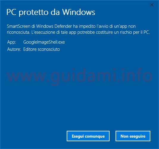 Notifica filtro SmartScreen eseguire comunque file bloccato