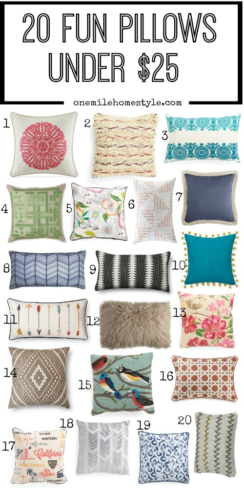 Perfect budget friendly decorating! Switch up your decor with fun throw pillows that are all under $25!