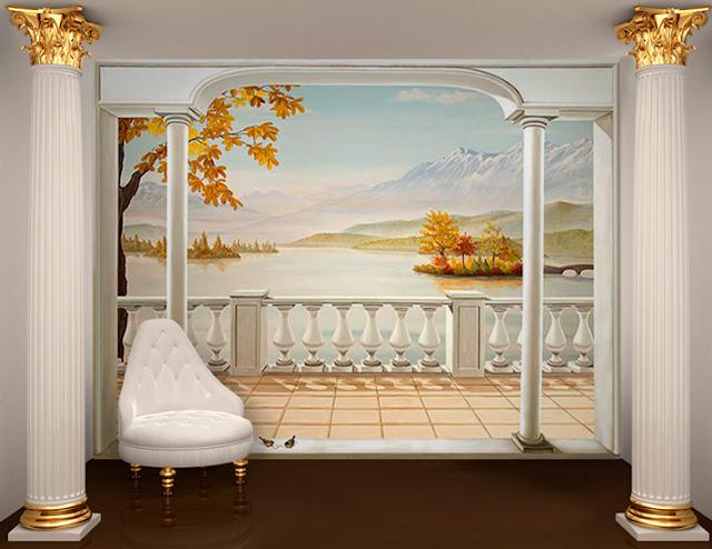 papier peint panoramique paysage en automne