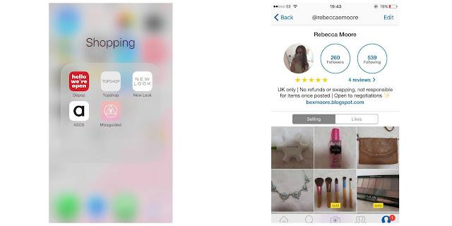 iPhone Shopping Folder and Depop Screenshot