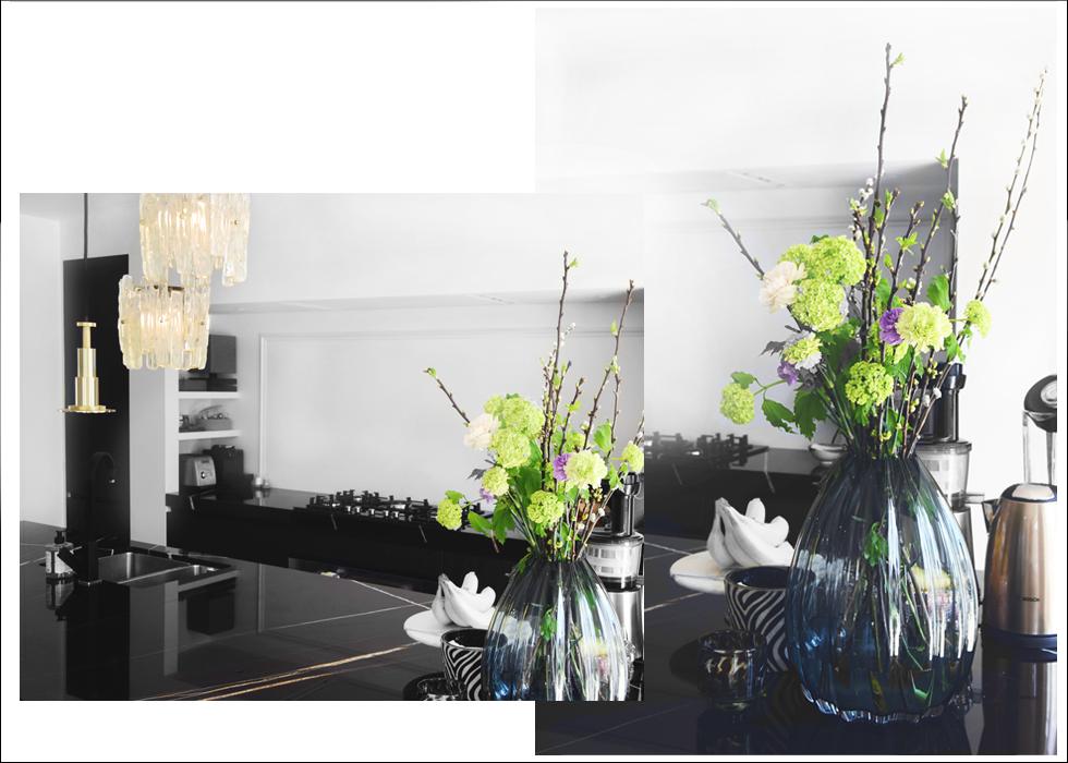 Interior, Sterk Online, flowers, kitchen, marble, countertop, sahara noir, Holmegaard, 2Lips, vase