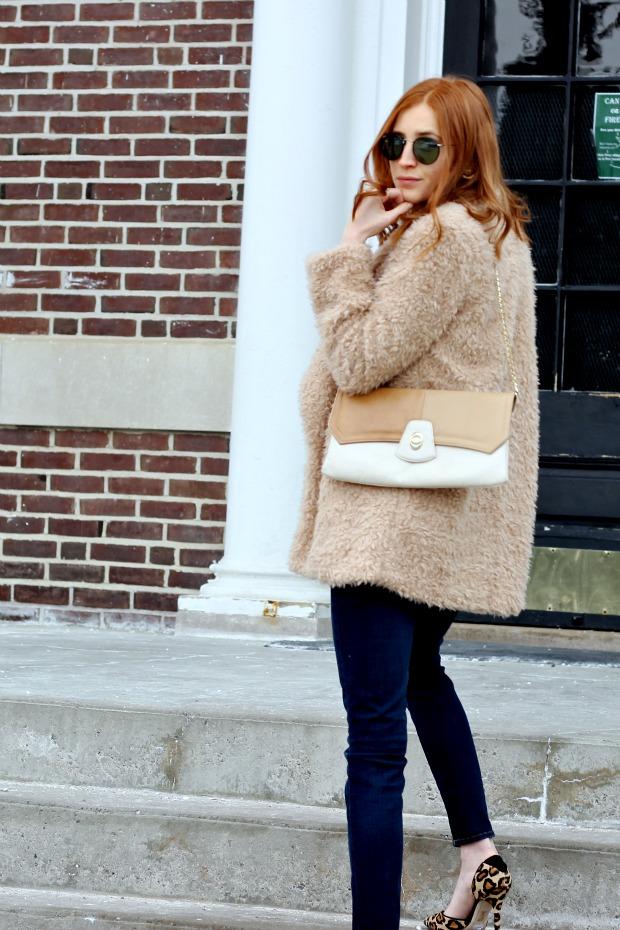 denim on denim, 70's vintage vibes, faux fur