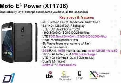 Moto E3 Power Phone Specifications Price Features