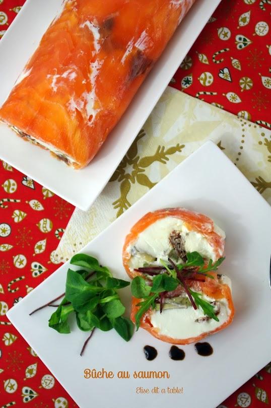 recette Bûche chèvre et saumon entrée de noël