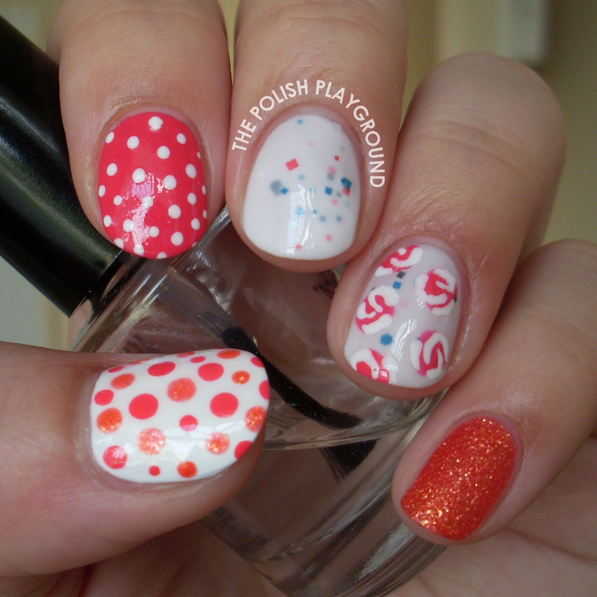 Girly Skittle Nail Art