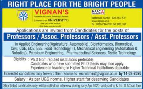 Vignan's University Bioinformatics/Biomedical Technology Faculty Jobs 2020 Ad Image