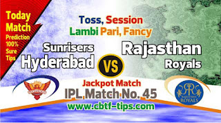 IPl 2019 45th Match Prediction Tips by Experts RR vs SRH