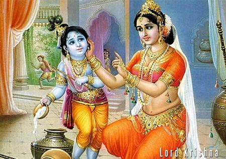 Beautiful Lord Krishna Image with Yashoda Mata