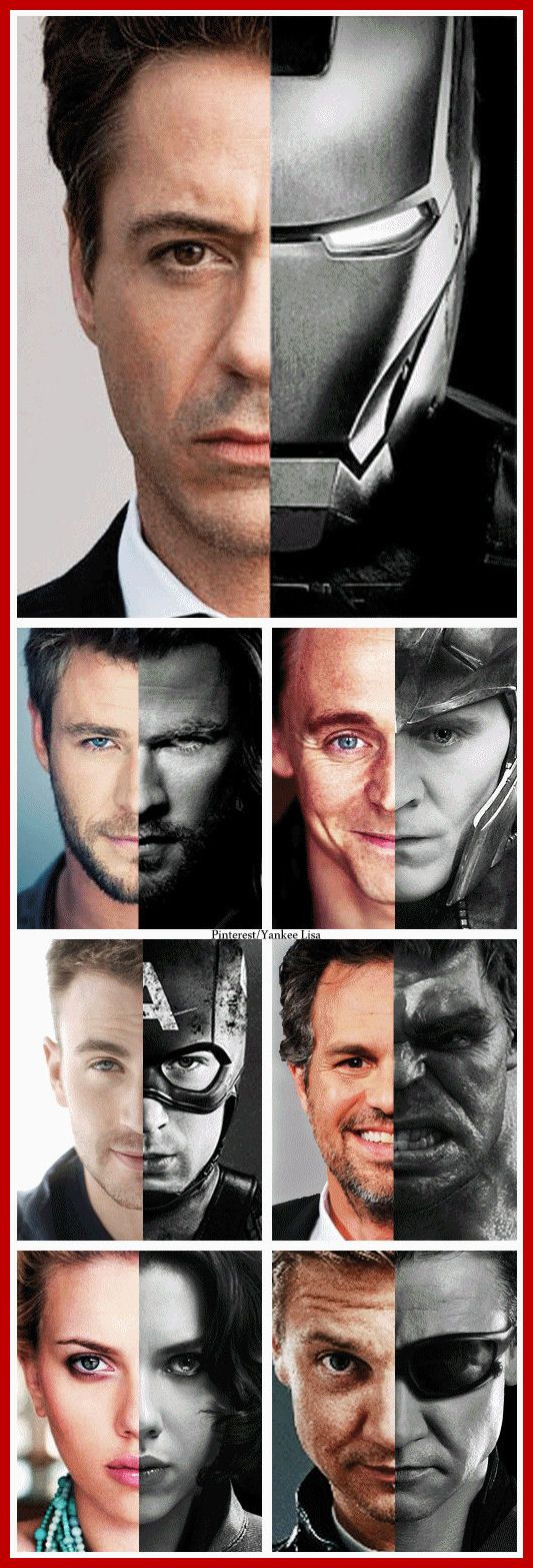 Avengers and their Actors Free Printable Poster.