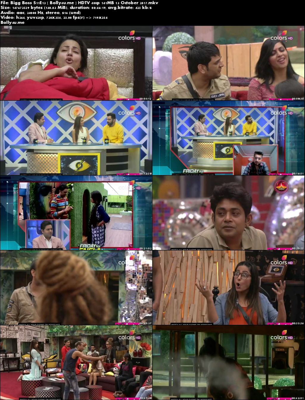 Bigg Boss S11E13 HDTV 480p 140MB 13 Oct 2017 Download