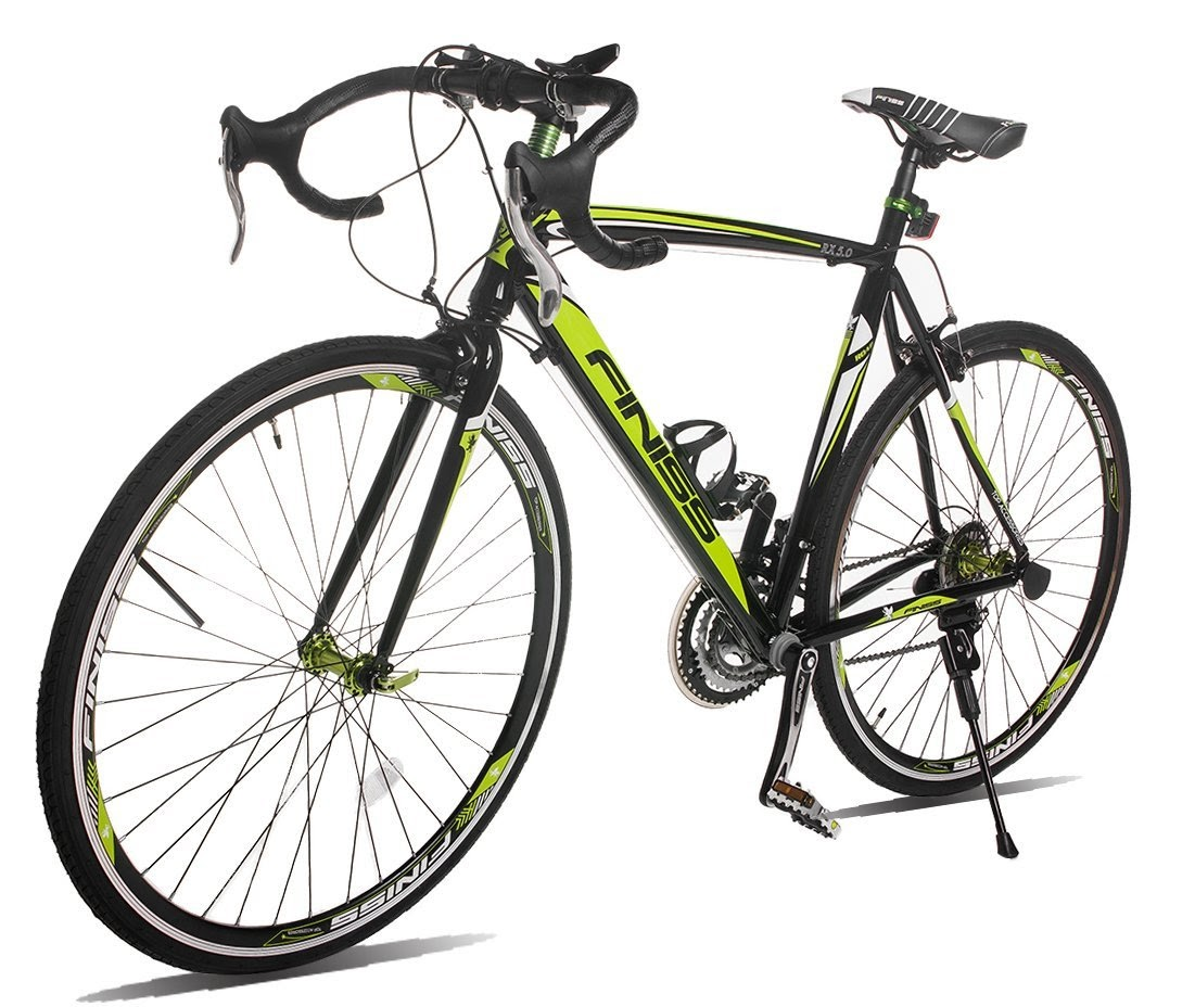 7ef84187a6f Merax Finiss Aluminum 21 Speed 700c Shimano Road Racing Bike, Black/Green.  >>