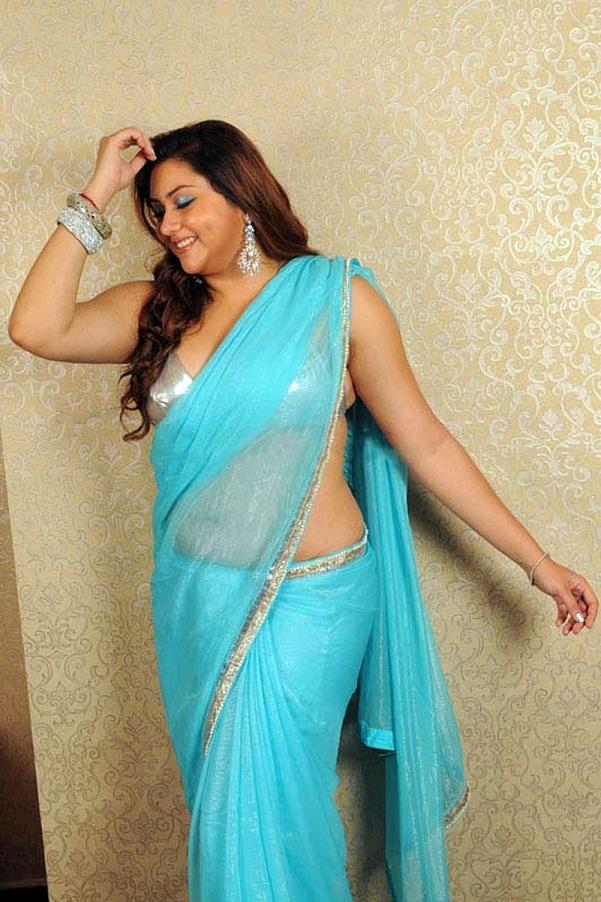 Namitha Kapoor In Sky Blue Saree Hd Photos Hot Sexy