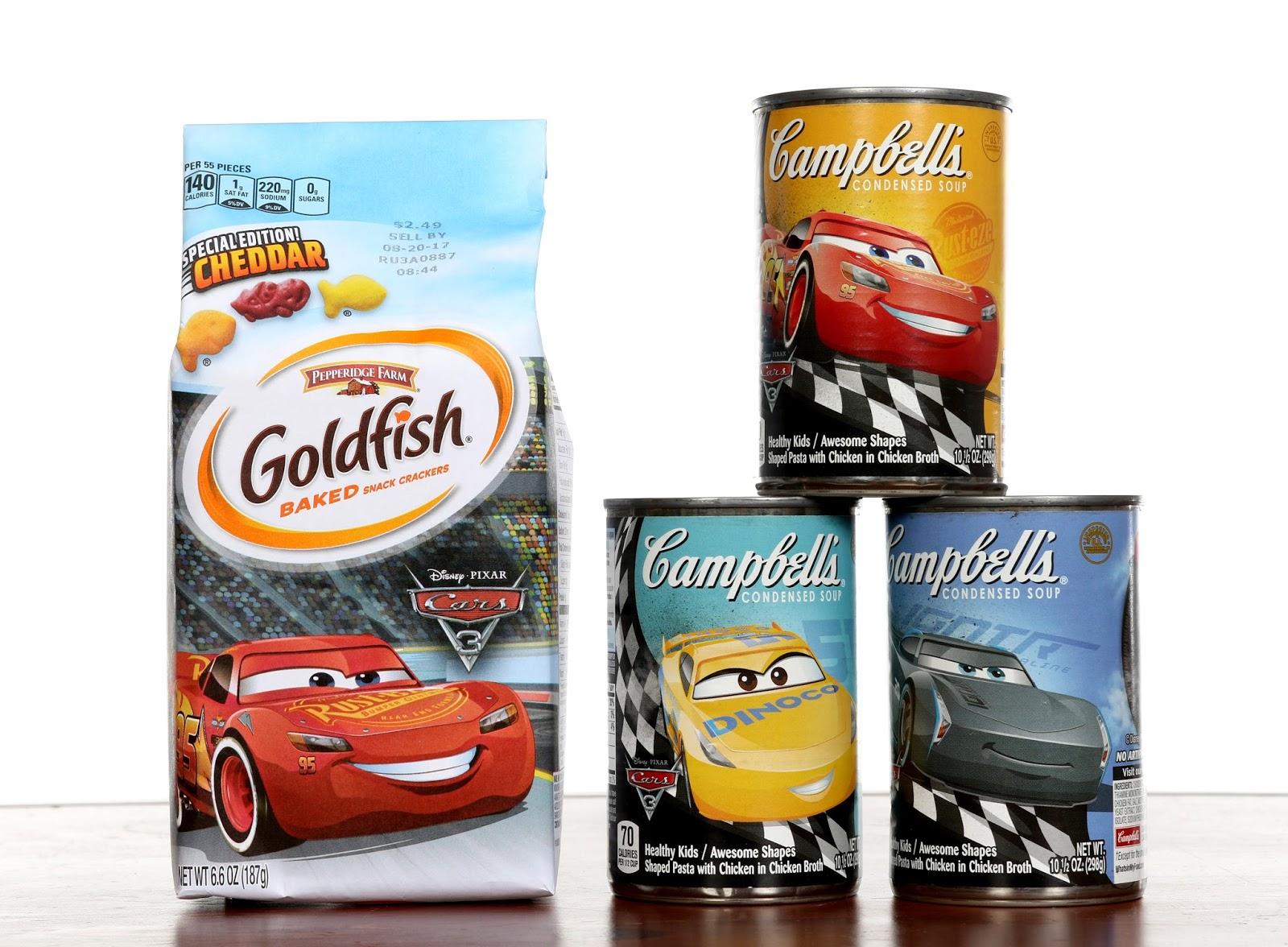 disney pixar Cars 3 Pepperidge Farm Goldfish & Campbell's Soup
