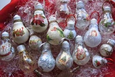riciclo vecchie lampadine come palline di natale, decoupage