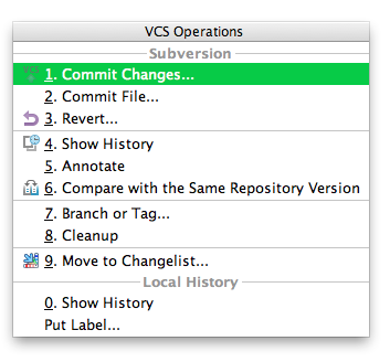 Quick Access to VCS Operations in IntelliJ IDEA - Messages