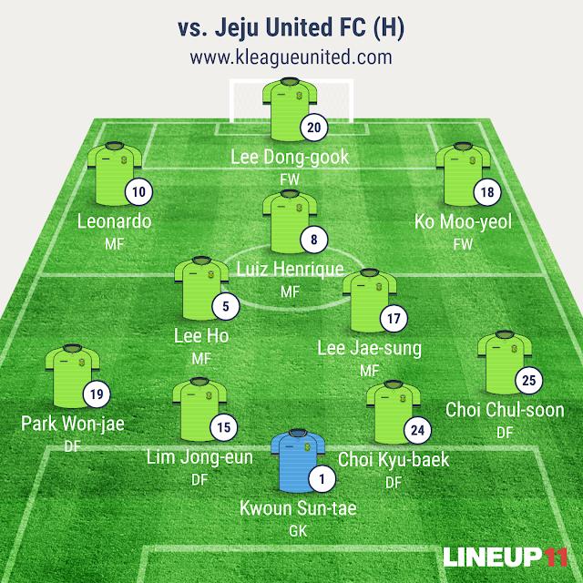 Jeonbuk Hyundai Motors vs Jeju United FC lineup (K-League R3, April 2nd, Jeonju World Cup Stadium)