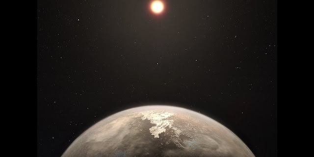 This artist's impression shows the temperate planet Ross 128 b, with its red dwarf parent star in the background. This planet, which lies only 11 light-years from Earth, was found by a team using ESO's unique planet-hunting HARPS instrument. The new world is now the second-closest temperate planet to be detected after Proxima b. It is also the closest planet to be discovered orbiting an inactive red dwarf star, which may increase the likelihood that this planet could potentially sustain life. Ross 128 b will be a prime target for ESO's Extremely Large Telescope, which will be able to search for biomarkers in the planet's atmosphere.  Credit: ESO/M. Kornmesser
