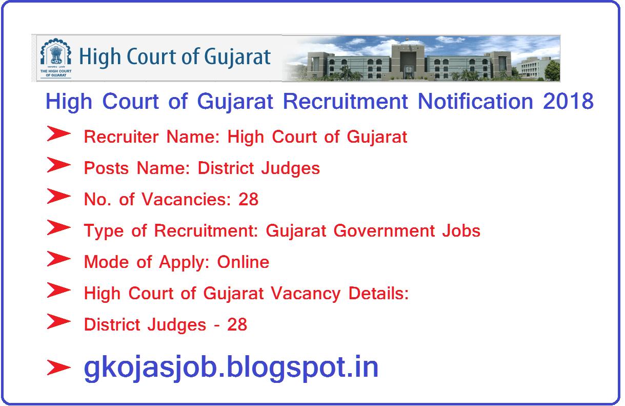 High Court of Gujarat Recruitment 2018 28 District Judges
