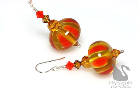 Pumpkin Spice Crystal Lampwork Beaded Earrings (EL288)