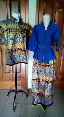 Model Baju Batik Sarimbit Lebaran Terbaru Biru