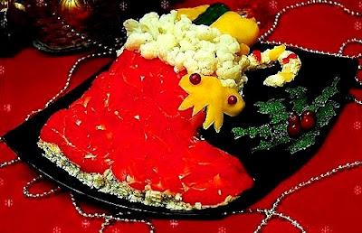 """Вкусные Ёлочки для новогоднего стола: коллекция рецептов, советов и идей, Закуска горячая «Елочка» из горбуши, Закуска «Мандаринки» из сыра с чесноком, Закуска на чипсах: варианты оригинальной начинки, Закусочный новогодний торт из слоеного теста «Мешочек счастья», Закусочный рождественский торт из вафель «Сапожок» с креветками, Новогодний омлетный закусочный торт «Снежный чемпион», Салат «Варежка Деда Мороза» с крабовыми палочками и рисом, Салат «Веселый Дед Мороз» с куриной печенью, Салат «Дед Мороз» из картофеля и крабовых палочек, Салат «Дед мороз, красный нос» с красной рыбой и крабовыми палочками, Салат «Дед Мороз» с курицей, ветчиной и грибами, Салат «Дед мороз с подарками» из крабовых палочек и риса, Салат """"Елочная игрушка"""" с сухофруктами и орехами, Салат «Ёлочный шар» с куриным филе и свеклой, Салат зимний «Снегирь» с рисом и ветчиной, Салат «Новогоднее чудо» с лососем, Салат «Новогодний бал» с курицей шампиньонами и черносливом, Салат новогодний «В лесу родилась ёлочка» с куриной грудкой, Салат новогодний «Венок желаний » с куриной грудкой, Салат «Новогодний» — праздничный овощной, Салат новогодний «Первый лист календаря» с креветками, Салат новогодний «Под бой часов» с индейкой, Салат новогодний «При свечах» с колбасой и сухариками, Салат новогодний «Разноцветные шары» с печенью трески, Салат новогодний «Свеча» с обжаренным фаршем, Салат новогодний «Снегирь» с сайрой, Салат новогодний «Сосновая шишка» с копченой рыбой и миндалем, Салат «Новогодняя веточка» с сердцем, шампиньонами и свеклой, Салат «Новогодняя звездочка» с икрой и куриным филе, Салат «Новогодняя игрушка» с крабами или крабовыми палочками, Салат «Новогодняя ночь» с соленой сельдью, Салат «Новогодняя фантазия» с шампиньонами, креветками и ананасами, Салат овощной с сыром «Новогодняя елка», Салат оливье «Шапка Санта-Клауса», Салат-рулет «Новогодняя хлопушка» с картофелем, курицей и орехами, Салат «Первый снег» с курицей, орехами и виноградом, Салат праздничный «Рождественская звезда» с икрой и"""