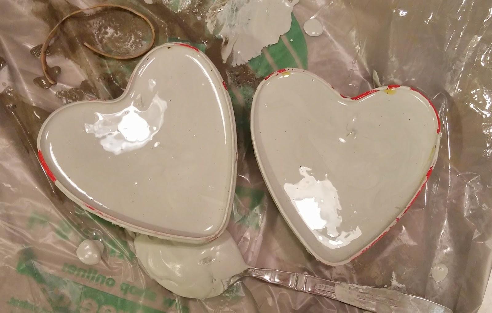 filling heart shaped molds