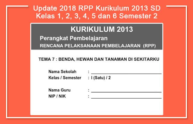 Update 2018 RPP Kurikulum 2013 SD Kelas 1, 2, 3, 4, 5 dan 6 Semester 2