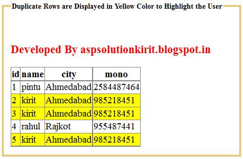 Highlight duplicate rows in gridview in asp net ~ Asp  Net