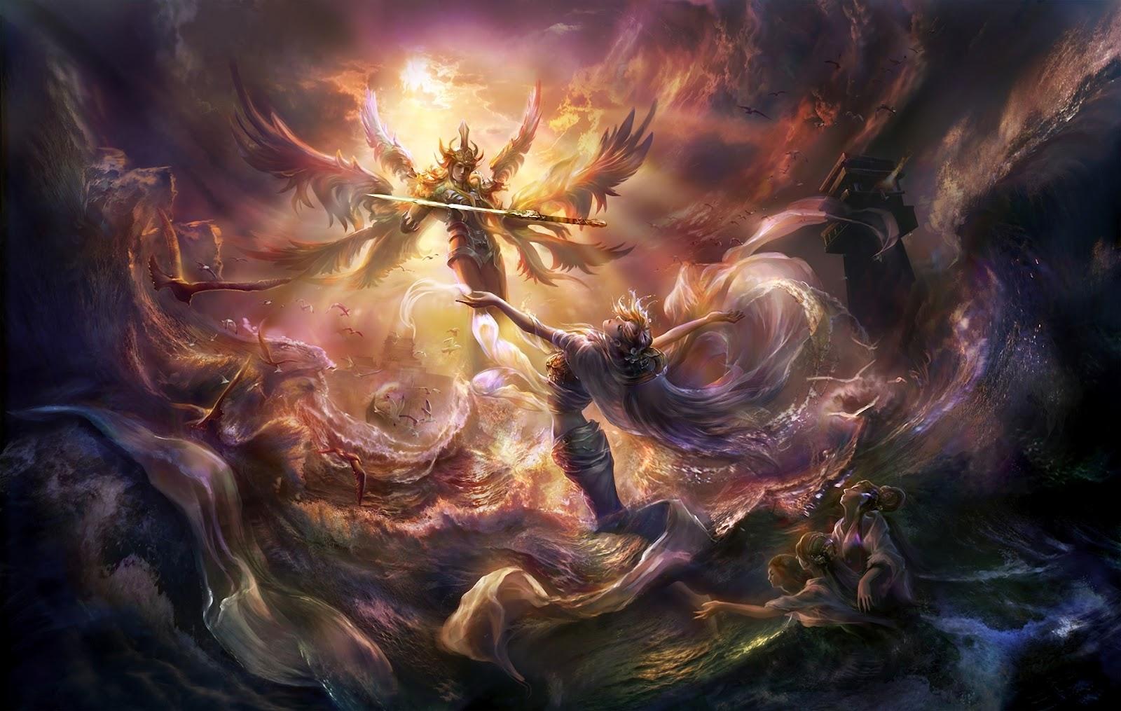 Painting Art Phoenix Fire Fantasy Digital Drawing: Wallpaper: Wallpaper Angels Free
